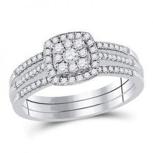 Dúo Triple de Mujer c/Diamantes - 0.50 CTW - 10K