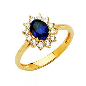 Anillo Compromiso - Halo Oval Pda.Azul - 14K - Zirconias