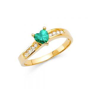 Anillo Promesa - 14K - Zirconia Verde