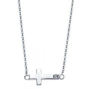 Collar Cruz Acostada - 14K - Zirconia