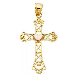 Crucifijo c/Corazón - 14K