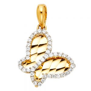Dije Mariposa Diamondcut - 14K - Zirconias