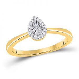 Solitario c/Diamantes - 0.09 CTW - 10K
