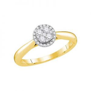 Solitario c/Diamantes - 0.25 CTW - 14K