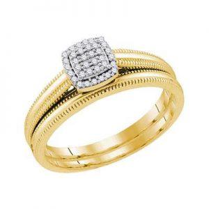 Dúo de Mujer c/Diamantes - 0.10 CTW - 10K